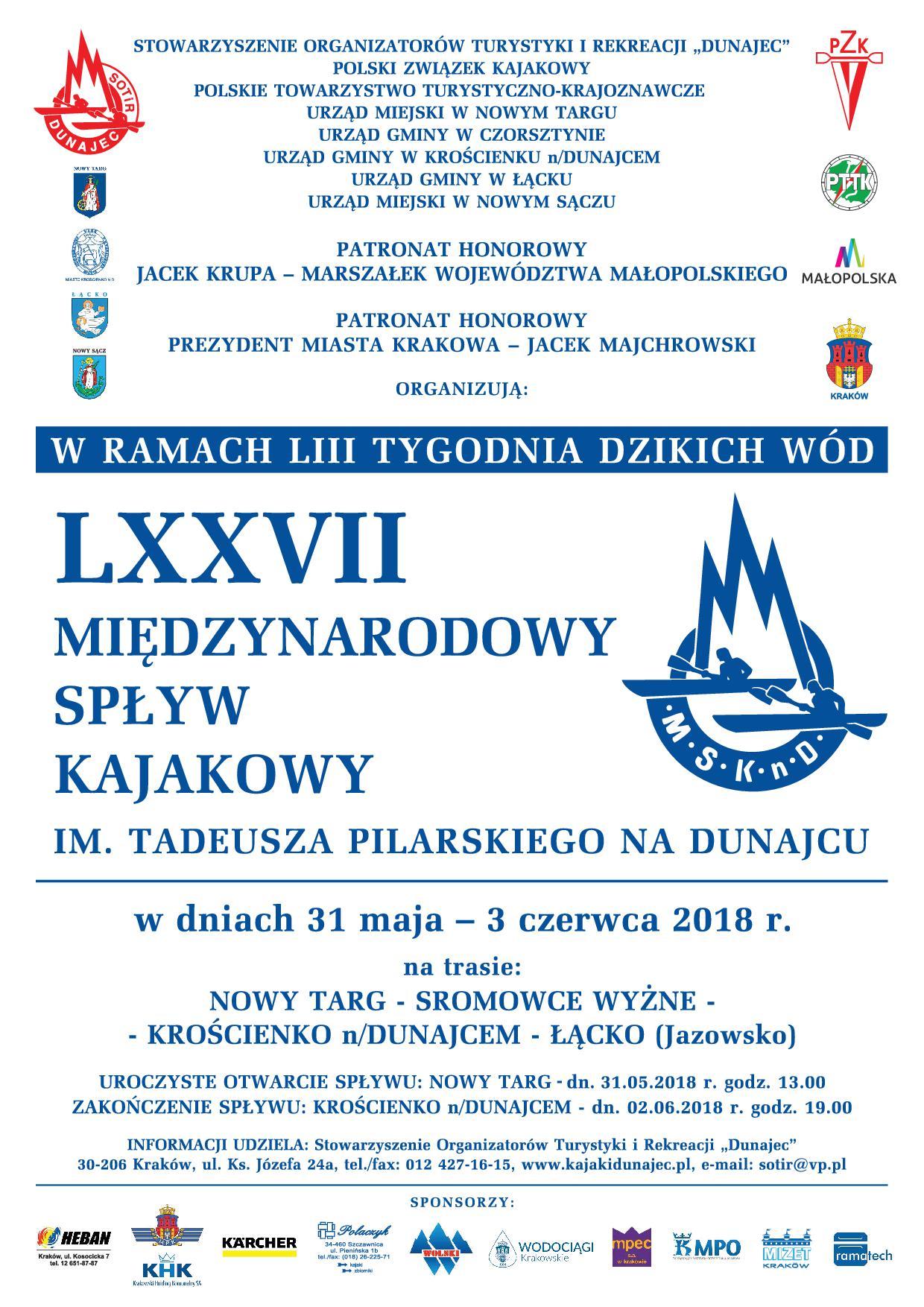 LXXVII Międzynarodowy Spływ Kajakowy  im. T. Pilarskiego na Dunajcu
