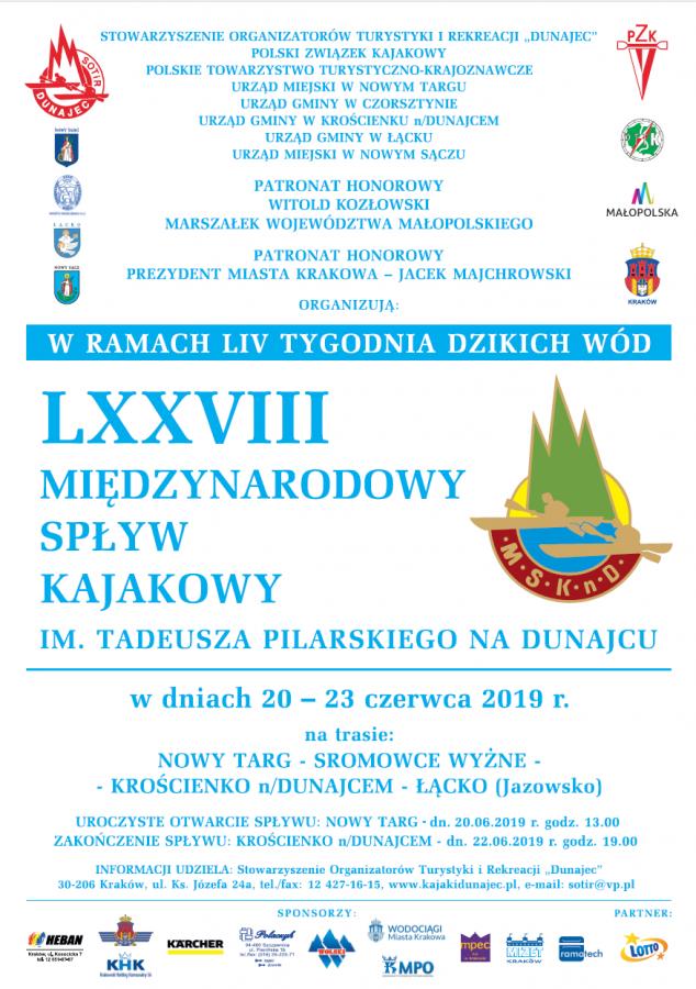 LXXVIII Międzynarodowy Spływ Kajakowy na Dunajcu im. Tadeusza Pilarskiego na Dunajcu